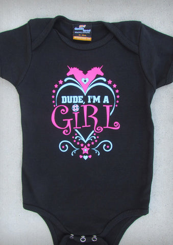 Dude, I'm A Girl  – Baby Girl Black Onepiece & T-shirt