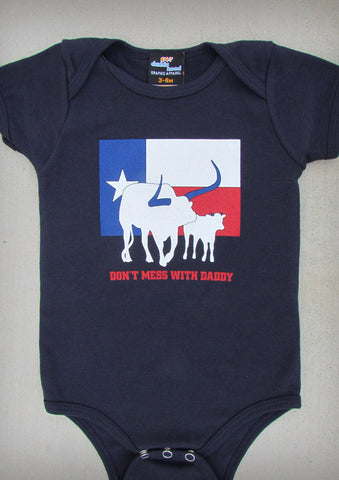 Don't Mess With Daddy – Texas Baby Navy Blue Onepiece & T-shirt