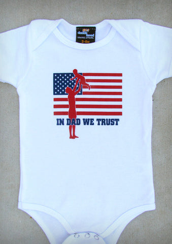 In Dad We Trust (with Boy) – Baby Boy White Onepiece & T-shirt