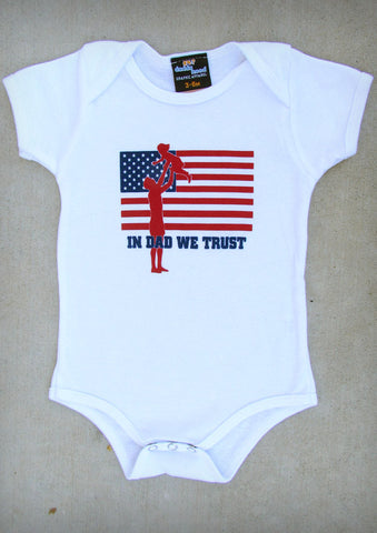 In Dad We Trust (with Girl) – Baby Girl White Onepiece & T-shirt