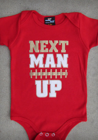 Next Man Up (San Francisco 49ers) – Baby Boy Red Onepiece & T-shirt