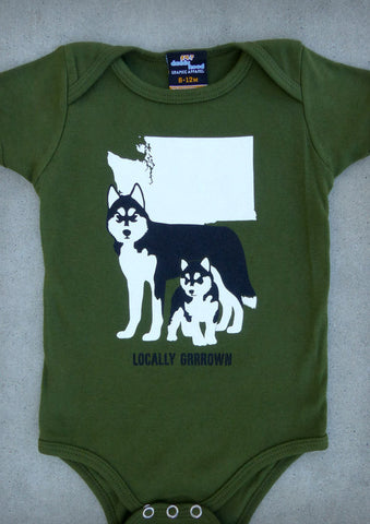Locally Grrrown – Washington Baby Boy Olive Green Onepiece & T-shirt