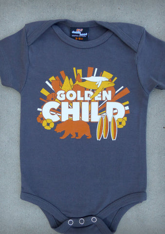 Golden Child – California Baby Boy Charcoal Gray Onepiece & T-shirt