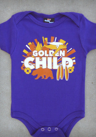 Golden Child – California Baby Girl Purple & Charcoal Gray Onepiece & T-shirt