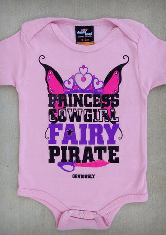 Princess Cowgirl Fairy Pirate – Baby Girl Pink Onepiece & T-shirt