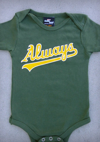 Always (Oakland Athletics) – Baby Olive Green Onepiece & T-shirt