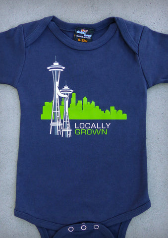 Locally Grown – Seattle Washington Navy Blue Onepiece & T-shirt