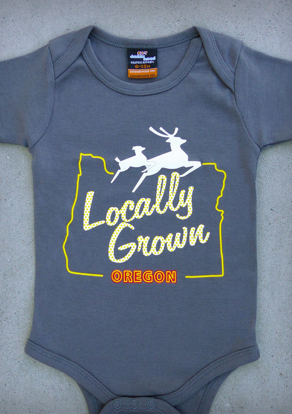 Locally Grown Oregon Baby Boy Charcoal Gray Onepiece T Shirt