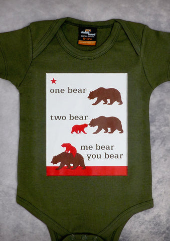 One Bear Two Bear – California Baby Olive Green Onepiece & T-shirt