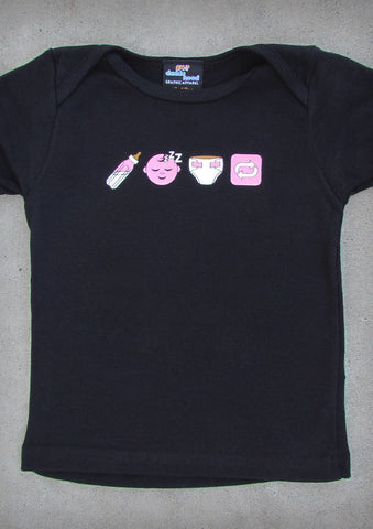 Emoji  – Baby Girl Black T-shirt