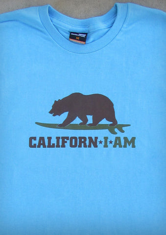 Californ I Am (Surfer) – California Men's Aqua Blue T-shirt