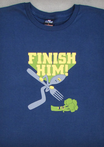 Finish Him – Men's Navy Blue T-shirt