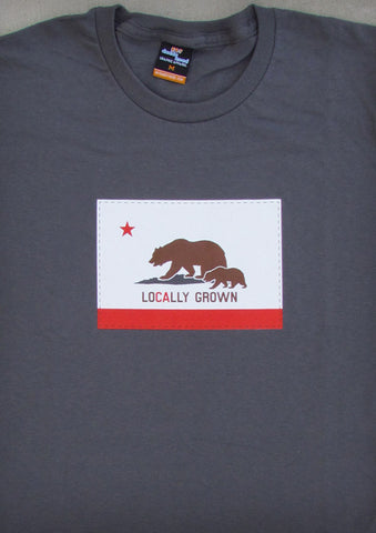 Locally Grown – California Women's Charcoal Gray & Lime Green Crew Neck T-shirt