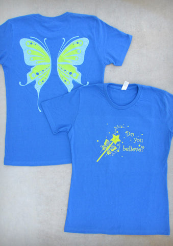 Fairy Wings – Women's Royal Blue Crew Neck T-shirt