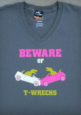 Beware of T-Wrecks (with Pink) – Women's Charcoal Gray V-neck T-shirt