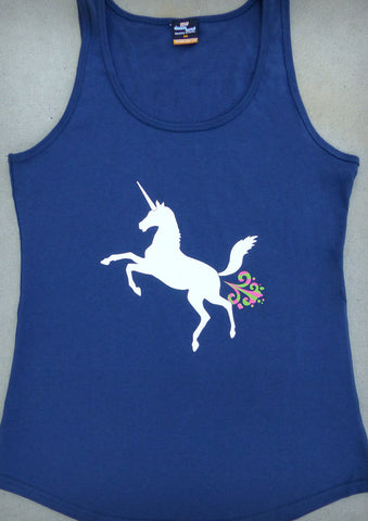 Unicorn – Women's Navy Blue Tank Top