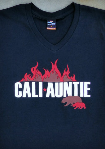 CaliAuntie – California Women's Auntie Black V-neck T-shirt