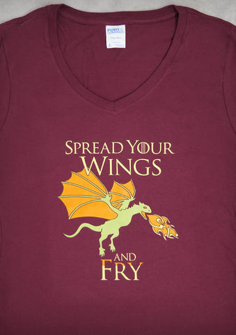 Dragon – Women's Maroon V-neck T-shirt