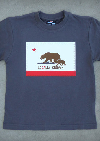 Locally Grown – California Youth Boy Charcoal Gray & Olive Green & Slate Gray T-shirt