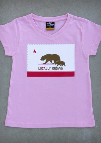 Locally Grown – California Youth Girl Pink V-neck & Crew Neck T-shirt