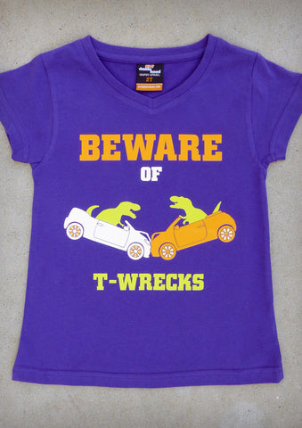 Beware of T-wrecks – Youth Girl Purple V-neck & Charcoal Gray Crew Neck T-shirt