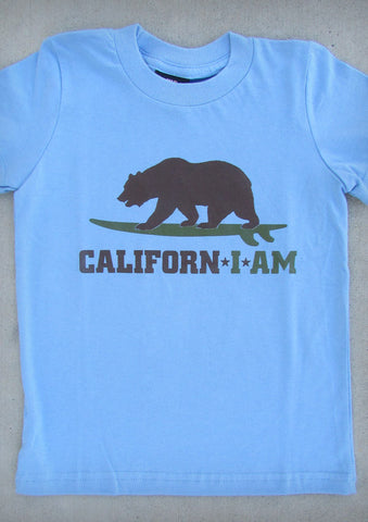 Californ I Am (Surfer) – California Youth Boy Baby Blue T-shirt
