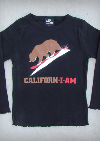 Californ I Am (Snowboarder) – California Youth Girl Black Long Sleeve T-shirt