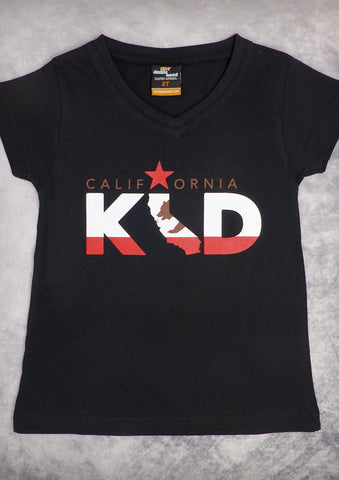 California Kid – Youth Girl Black V-neck & Raspberry Pink Crew Neck T-shirt