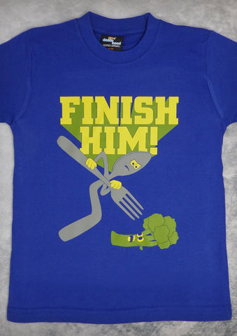 Finish Him – Youth Boy Cobalt Blue T-shirt