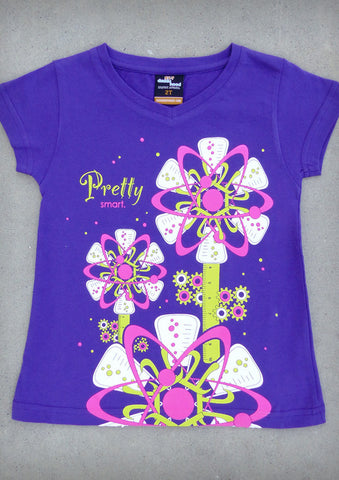 Pretty Smart – Youth Girl Purple V-neck & Crew Neck T-shirt
