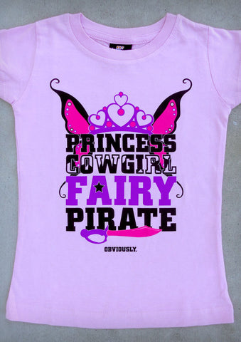 Princess Cowgirl Fairy Pirate – Youth Girl Pink Crew Neck T-shirt