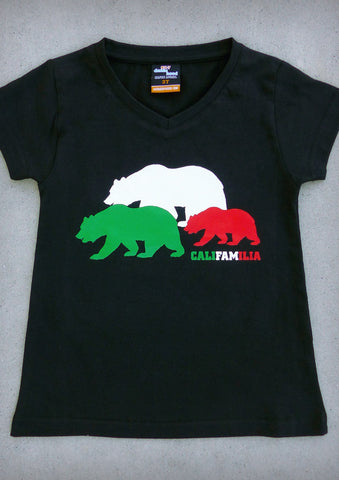 Califamilia – California Youth Girl Black V-neck T-shirt
