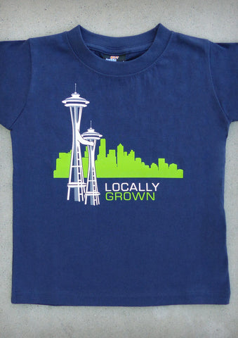 Locally Grown – Seattle Washington Youth Boy Navy Blue T-shirt