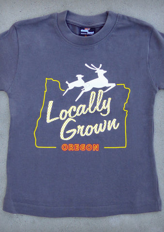 Locally Grown – Oregon Youth Boy Charcoal Gray T-shirt