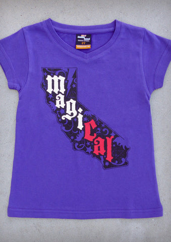 MagiCAL – California Youth Girl Purple V-neck T-shirt