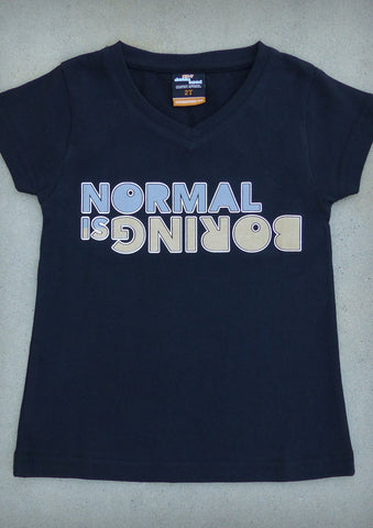 Normal is Boring – Youth Girl Black V-neck T-shirt