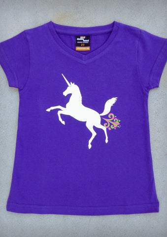 Unicorn – Youth Girl Purple V-neck T-shirt