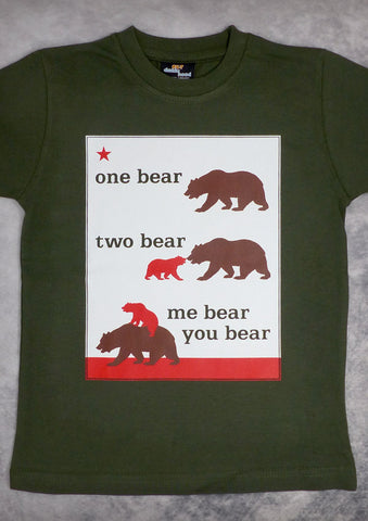 One Bear Two Bear – California Youth Boy Olive Green T-shirt