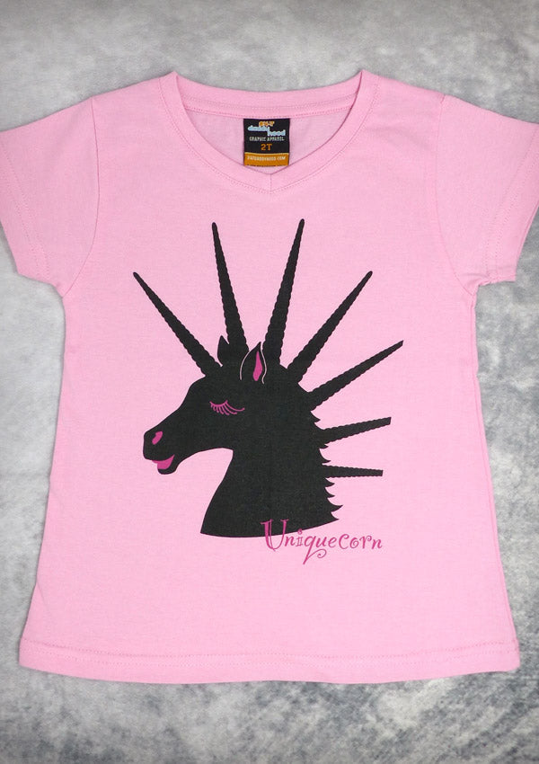 81f8b2ed658985 Uniquecorn – Youth Girl Pink V-neck T-shirt – 24-7 Daddyhood
