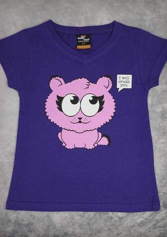 Kitty Crush – Youth Girl Purple V-neck T-shirt