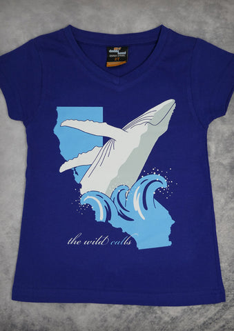 The Wild Calls (Whale) – California Youth Girl Cobalt Blue V-neck T-shirt
