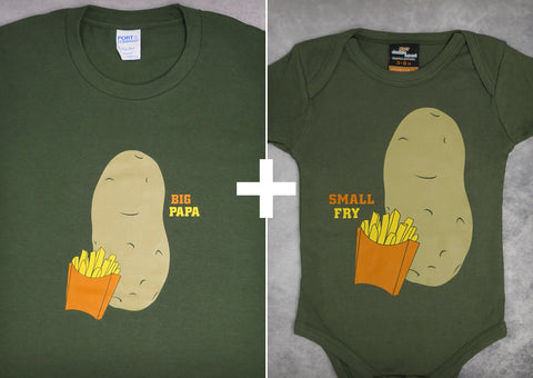Small Fry & Big Papa Gift Set – Men's Daddy T-shirt + Baby Onepiece/T-shirt
