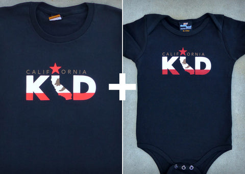 California Kid Gift Set – California Men's T-shirt + Baby Onepiece/T-shirt