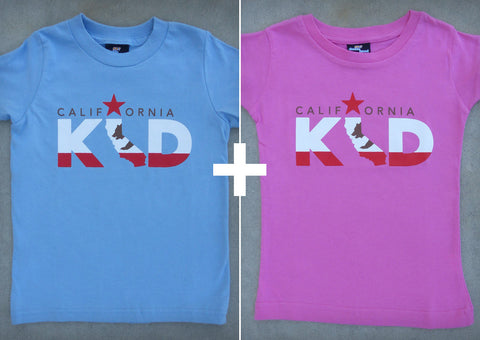 California Kid Gift Set – California Youth Boy Blue T-shirt + Youth Girl Raspberry Crew