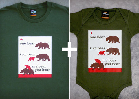 One Bear Two Gift Set – California Men's T-shirt + Baby Onepiece/T-shirt
