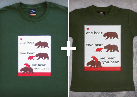 One Bear Two Gift Set – California Men's T-shirt + Youth Boy T-shirt