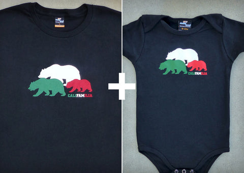 Califamilia Gift Set – California Men's T-shirt + Baby Onepiece/T-shirt