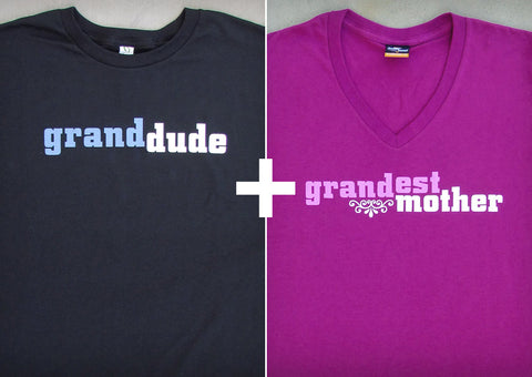Grand Dad & Mom Gift Set – Men's T-shirt + Women's V-neck T-shirt