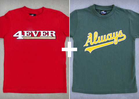 49ers & A's-inspired House Divided Gift Set – San Francisco & Oakland Youth Boy T-shirts