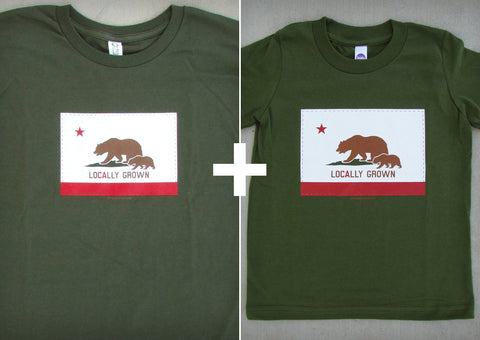 Locally Grown Olive Gift Set – California Men's T-shirt + Youth Boy T-shirt